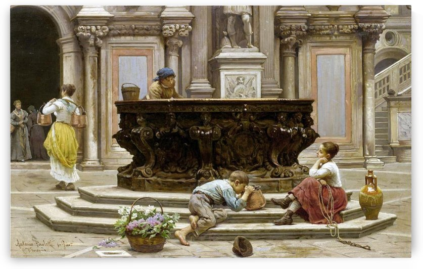 Children resting by the fountain by Antonio Ermolao Paoletti