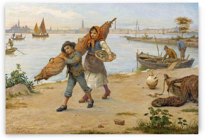 Two children fishing by Antonio Ermolao Paoletti