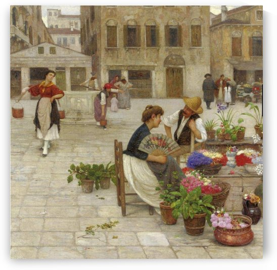 A young couple on the square of Venice by Antonio Ermolao Paoletti