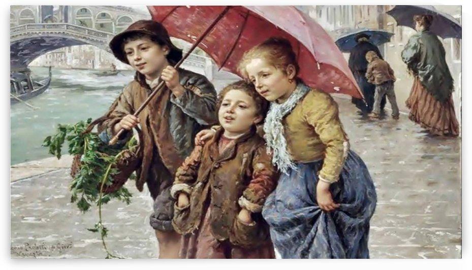 Young children under an umbrella by Antonio Ermolao Paoletti