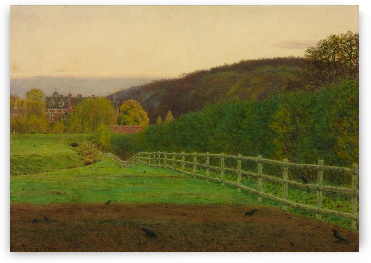 Green spring fields and a house by George Price Boyce
