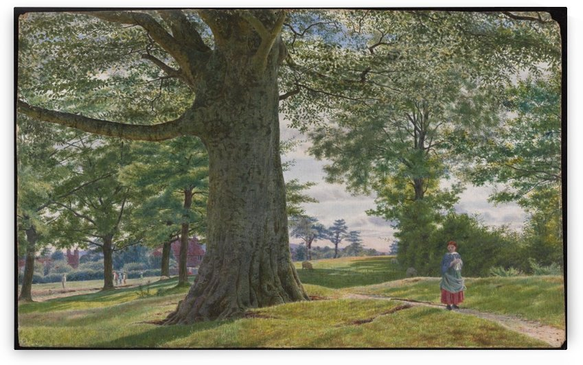 A Girl by a Beech Tree in a Landscape by George Price Boyce