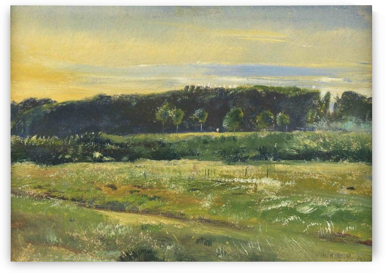 A landscape of a field in spring by George Price Boyce