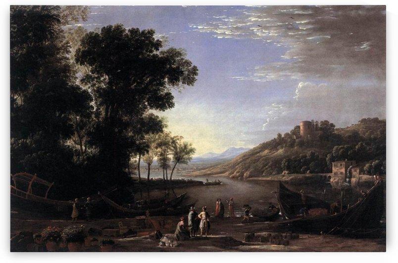 Paysage avec marchands by Claude Lorrain