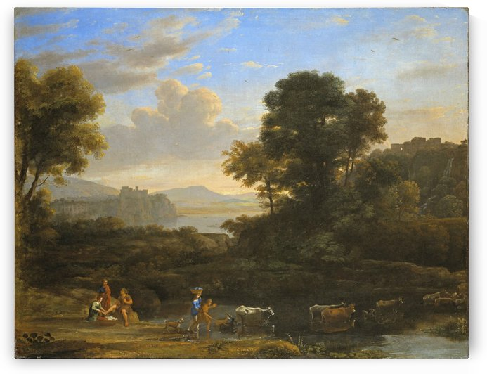 Crossing the river with cattle by Claude Lorrain