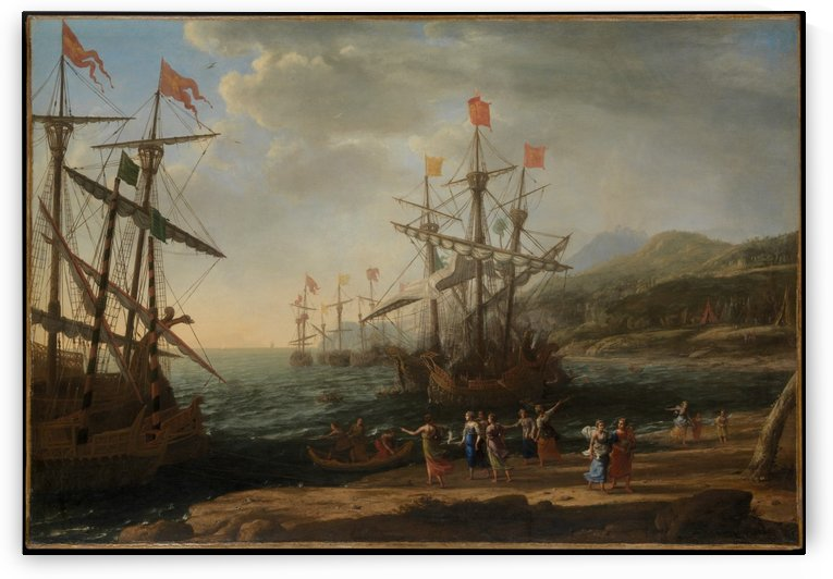 Three ships on the sea by Claude Lorrain