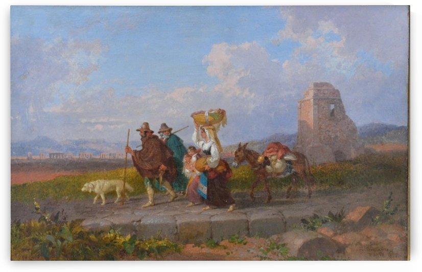 Travellers, Rome 1866 by Penry Williams