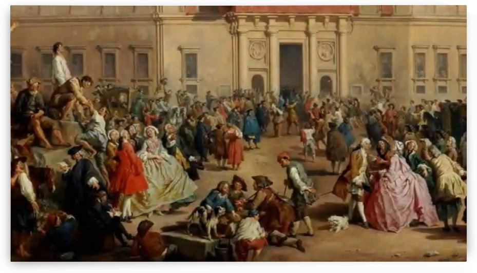 Crowded people in the square by Giovanni Paolo Panini