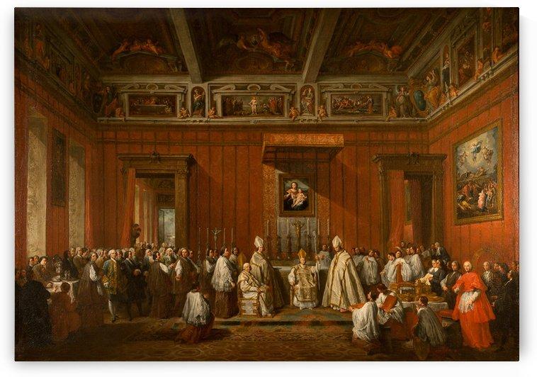 Le marquis Molinari ordonne archeveque de Damas par pape BenoitXIV by Giovanni Paolo Panini