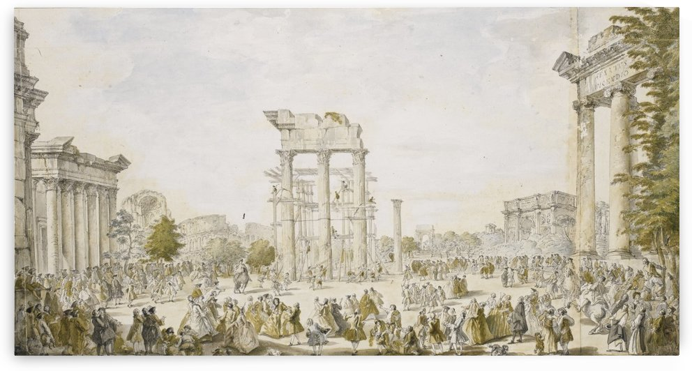 Idealized view of the Roman Forum by Giovanni Paolo Panini