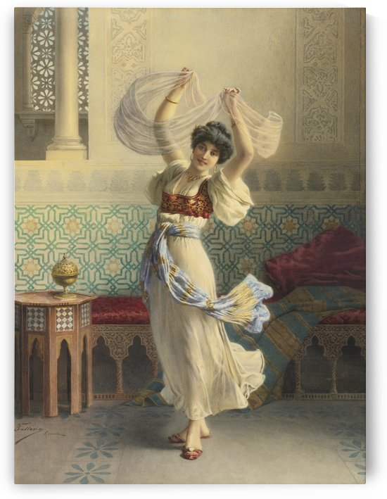 An Oriental woman dancing by Francesco Ballesio
