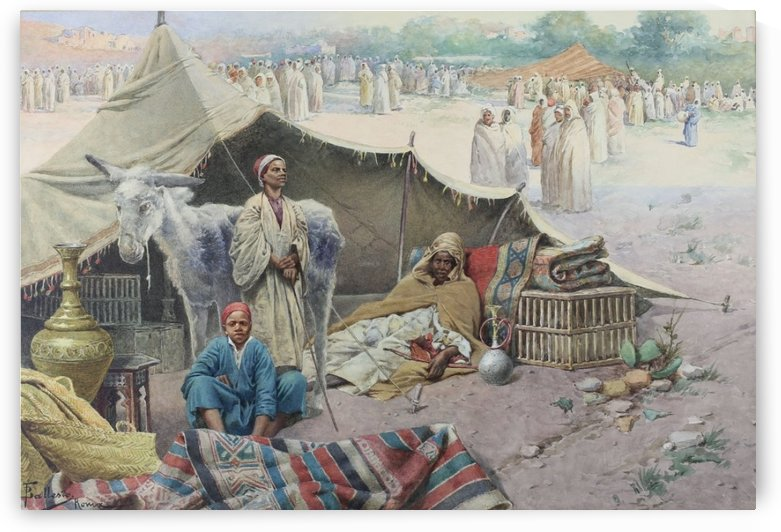 A Arab caravan resting by Francesco Ballesio
