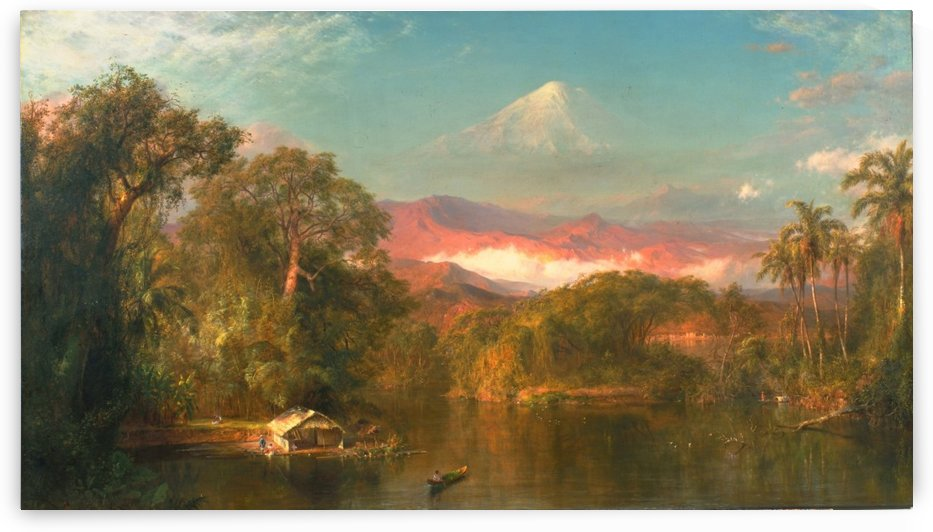 A small hut by a river by Frederic Edwin Church