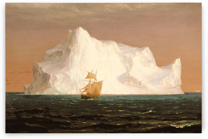 A boat sailling to an iceberg by Frederic Edwin Church