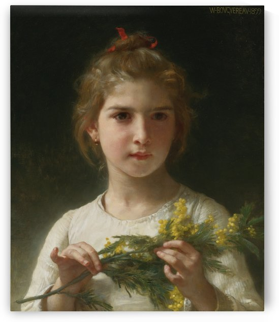 A young girl with a mimosa flower by William-Adolphe Bouguereau