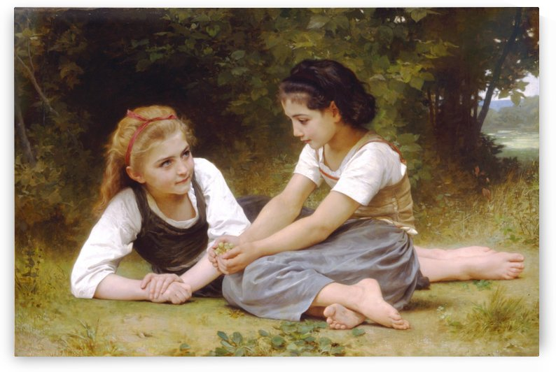 Two girls chatting by William-Adolphe Bouguereau