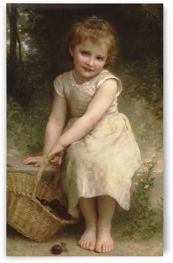A young girl picking fruits by William-Adolphe Bouguereau