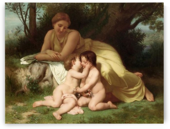Young woman contemplating two embracing children by William-Adolphe Bouguereau
