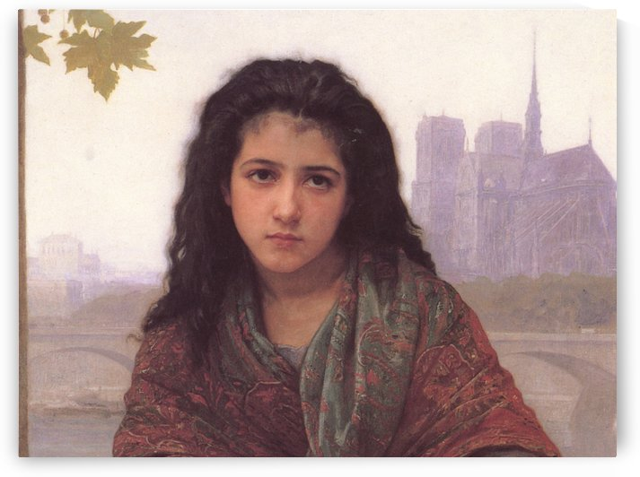 Portrait of a youg girl with black eyes by William-Adolphe Bouguereau