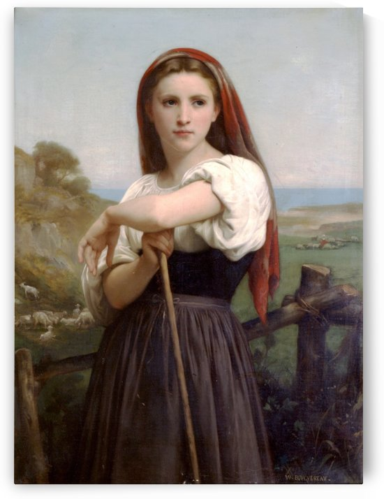 The young shepardess with a red scarf by William-Adolphe Bouguereau