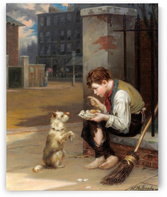 Training a small dog by Augustus Edwin Mulready