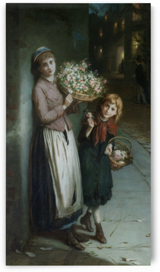 Two girls selling flowers by Augustus Edwin Mulready