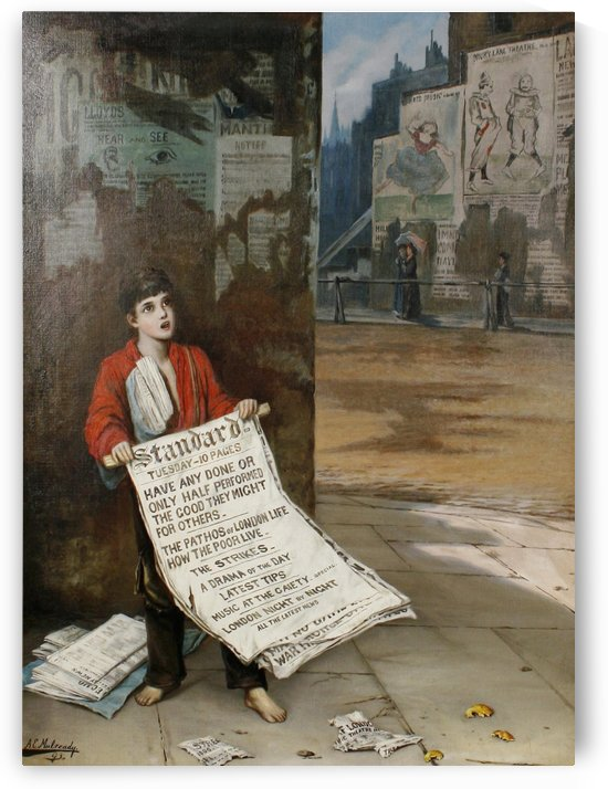 A London Newsboy 1893 by Augustus Edwin Mulready