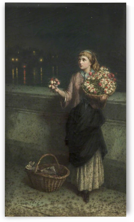 Selling flowers on a bridge in the night time by Augustus Edwin Mulready