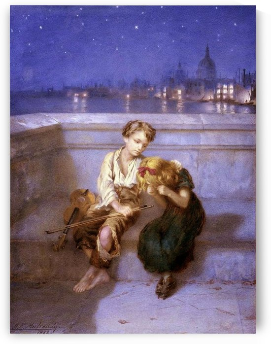 Comforitng a crying girl by Augustus Edwin Mulready