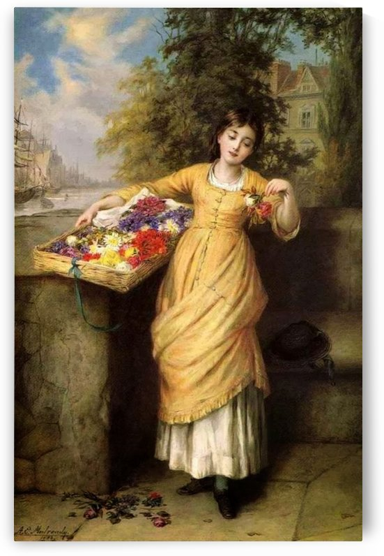Selling muticolored flowers by Augustus Edwin Mulready