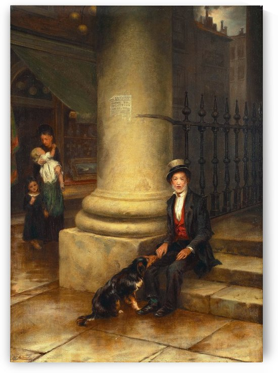 A family and a dog by Augustus Edwin Mulready