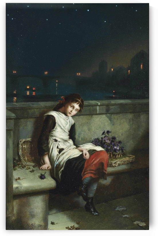 A girl selling purple flowers on a bridge by Augustus Edwin Mulready