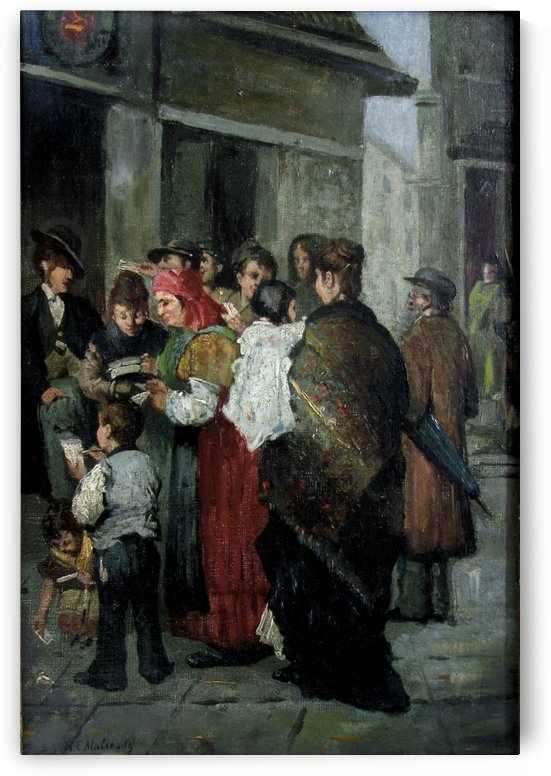 A crowded street by Augustus Edwin Mulready