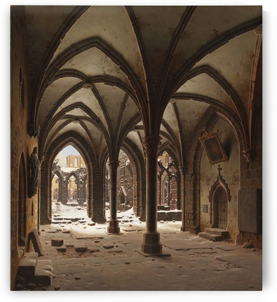 Die Ruine des Klosters Walkenried im Winter by Carl Hasenpflug