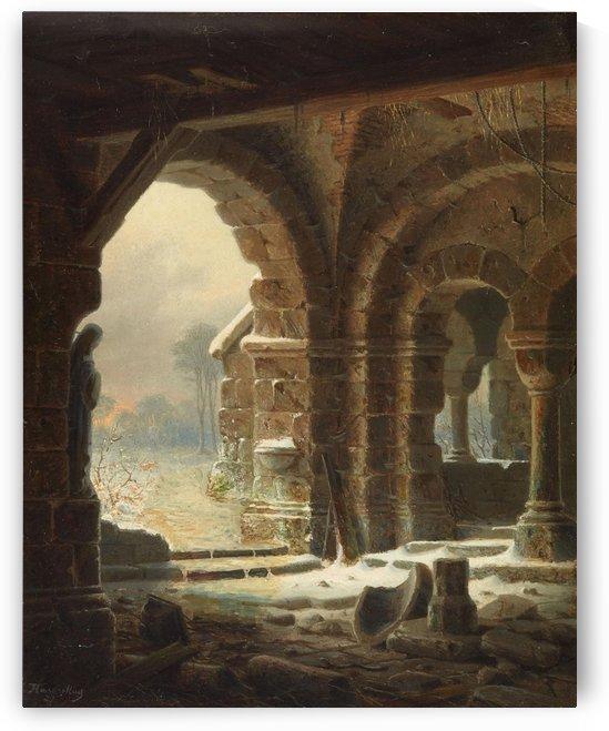 Romanische Kirchenruine im Winter - 1827 by Carl Hasenpflug