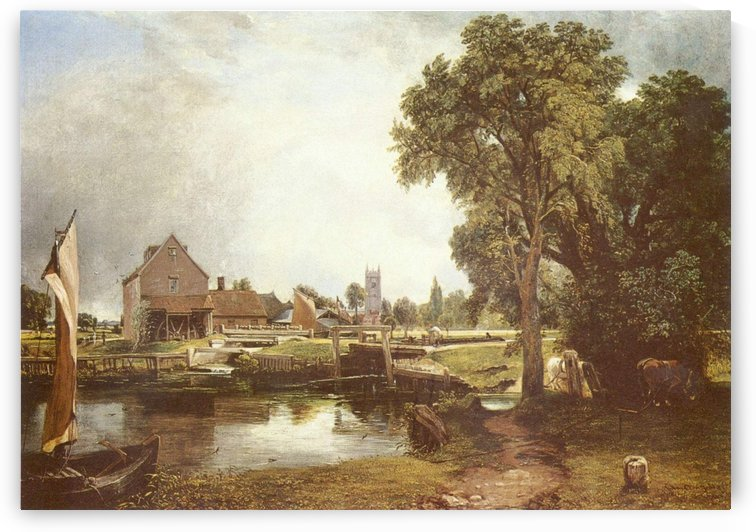 A pond in front of a house by John Constable