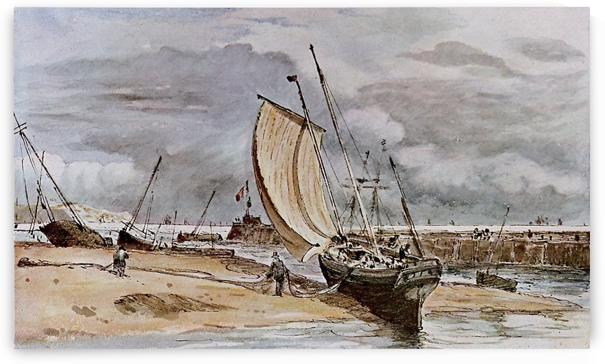 A big white vessel on the sea by John Constable