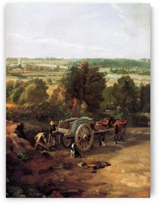 A carriage and a dog at the edge of a city by John Constable