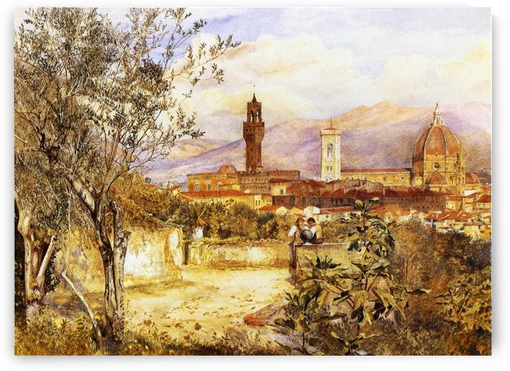 View of the Duomo fro the Mozzi Garden Florence 1877 by Henry Roderick Newman