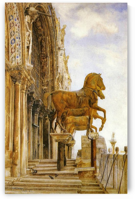 Painting of statues of three horses by Henry Roderick Newman
