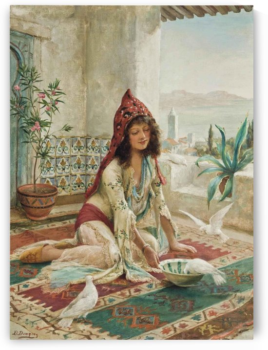 An Oriental woman feeding the pigeons by Delapoer Downing