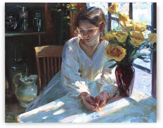 A woman in a white dress by Delapoer Downing