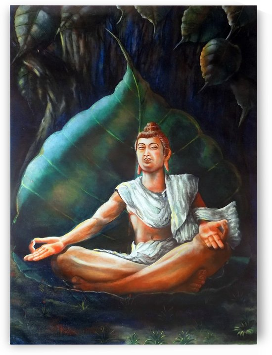 BUDDHA MEDITATING ON A LEAF by ASP Designs