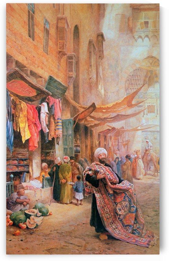 Carpet seller at the Bazaar-Khan el Khalili by Charles Robertson