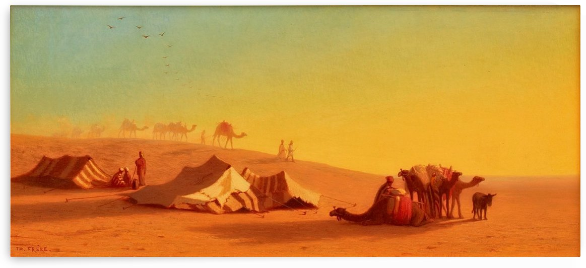 A halt in the desert by Charles-Theodore Frere