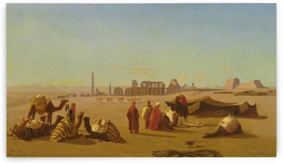 A caravan at rest, the Temple of Karnak, Thebes in the distance by Charles-Theodore Frere