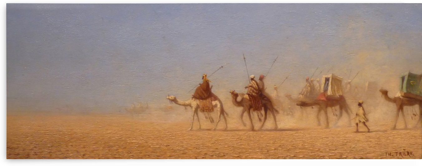 Caravanes traversant le desert by Charles-Theodore Frere