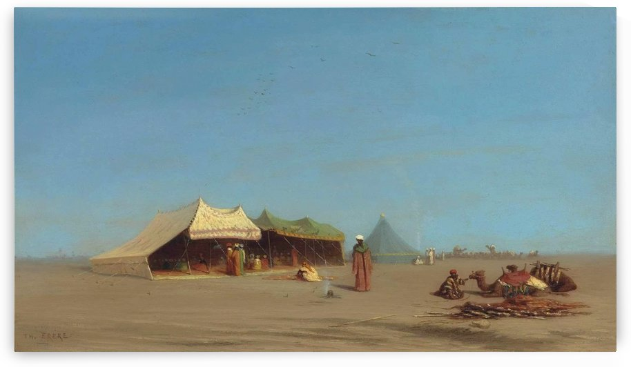 A desert encampment, Egypt by Charles-Theodore Frere