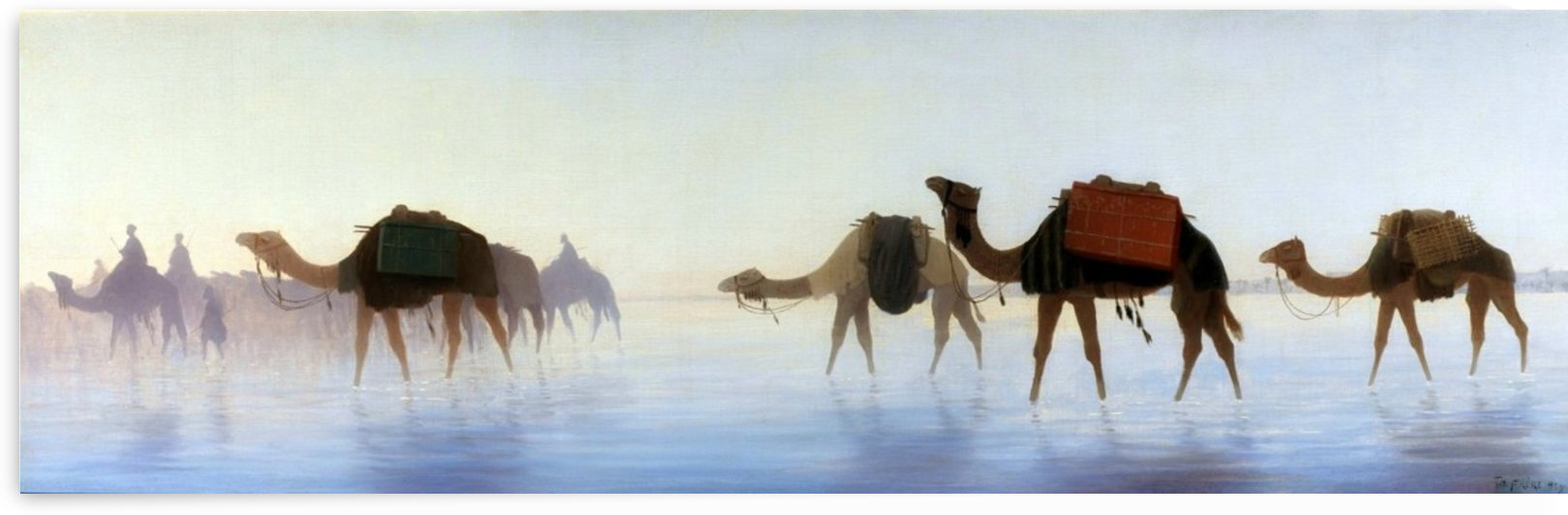 Camels crossing water by Charles-Theodore Frere