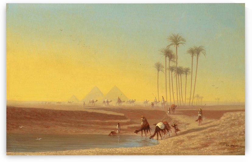 Oasis pres des pyramides by Charles-Theodore Frere